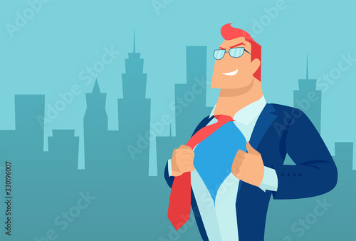 Fototapeta Vector of a super hero business man on a cityscape background obraz