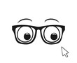 Design of eyes with glasses looking a arrow