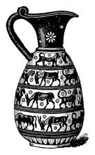 Corinthian Vase Is A Greek Vase Decorated In Antic Style, Vintage Engraving.