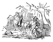 The Swineherd, Vintage Illustration
