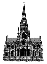 Gothic Architecture - Salisbury Cathedral, Architecture Building, Vintage Engraving.