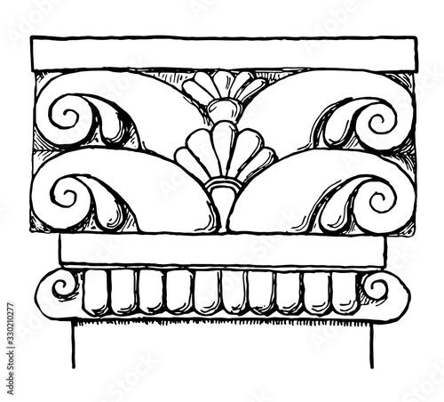Photo Etruscan Pilaster Cap, A plain astragal, vintage engraving.