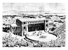 Greek Theatre, Athens, Vintage Engraving.