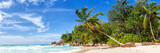 Seychelles Anse Georgette beach Praslin island palm panoramic view holidays vacation paradise sea