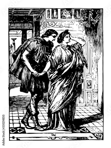 Lysander and Hermia, vintage illustration Canvas Print