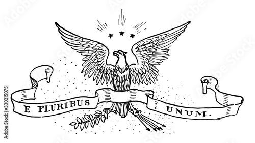 Fényképezés The United States motto prior to 1956, vintage illustration