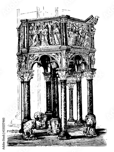 The Pulpit of the Baptistry is the earliest authenticated work by the artist, vintage engraving Canvas Print