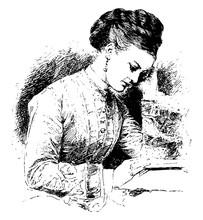 Woman Reading, Sit,  Vintage Engraving.