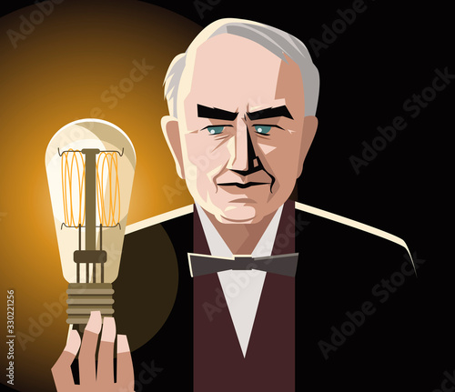 great inventor with a light bulb Fototapeta