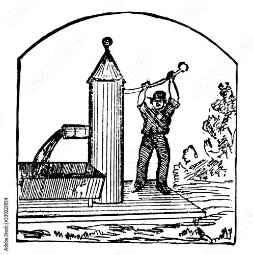 Fototapety, obrazy: Pumping, vintage illustration.