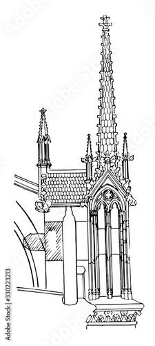 Vászonkép Buttress Pinnacle, Notre Dame, vintage engraving.