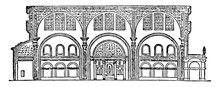Basilica Of Constantine, Section Of The Basilica Of Maxentius, Vintage Engraving.