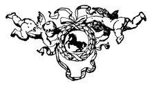 Wreath With Cherubs Have A Horse Center In Its Design, Vintage Engraving.