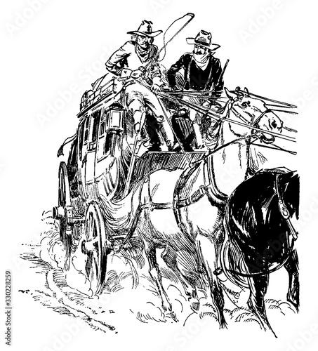 Obraz na plátne Stagecoach, vintage illustration