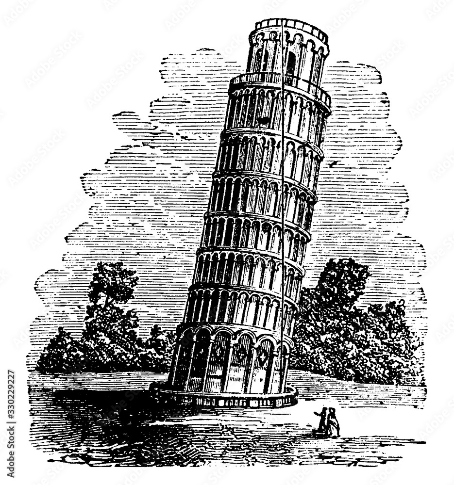 Fototapeta Tower of Pisa,  located in Italy, vintage engraving.
