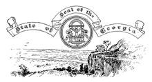 The United States Seal Of Georgia, Vintage Illustration