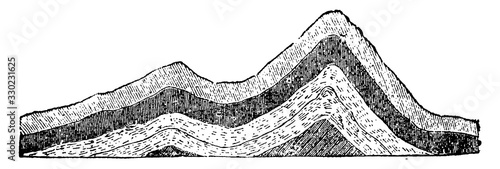 Fotografia Anticlinal Strata, vintage illustration.