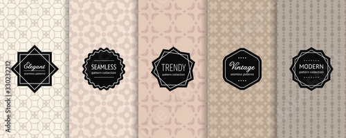 Subtle vector geometric seamless patterns collection. Set of minimal abstract background swatches with elegant modern labels. Design in beige, caramel, sandy, brown colors. Oriental style ornaments