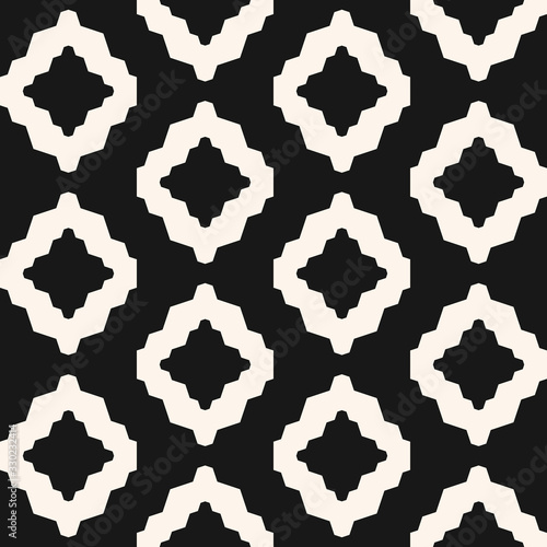 Abstract geometric seamless pattern. Ethnic tribal style vector background. Simple black and white ornament with mesh, grid, rhombuses, diamond shapes, lattice. Monochrome repeated ornamental texture