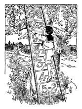 Boy Climbing Ladder, Vintage Illustration