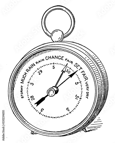 Photo Aneroid Barometer, vintage illustration.