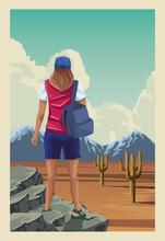 Beautiful Landscape With Female Traveler Scene