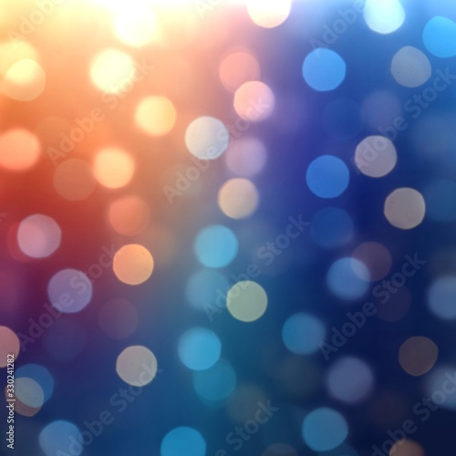 Fototapety, obrazy: Bokeh lights on blue red deep background. Blurred pattern. Festive abtract illustration.