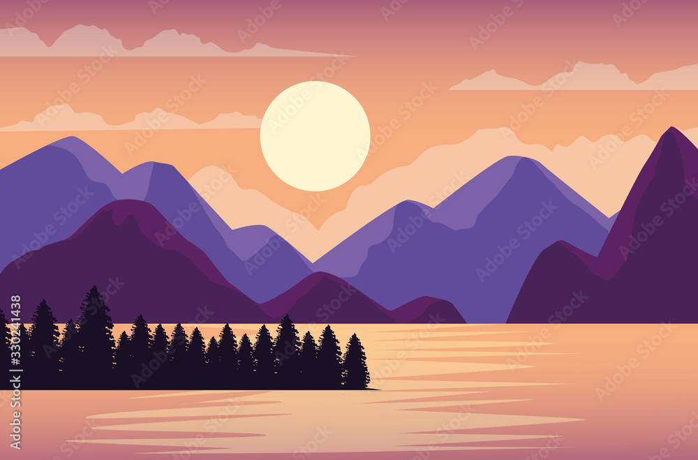 Fototapeta beautiful landscape with lake and mountains scene