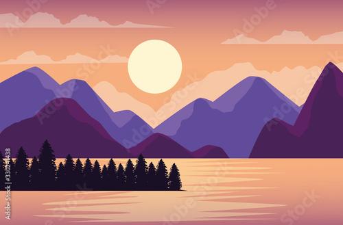 Obraz beautiful landscape with lake and mountains scene - fototapety do salonu