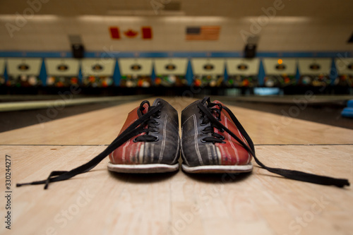 Bowling accesoires. Concept of leasure and team building event. Фотошпалери