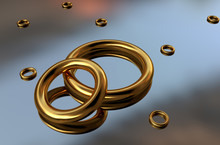 3D Illustration Of Gold Bracelets Or Rings On A Mirror Surface. Gold Jewelry As Amulets Or Bracelets