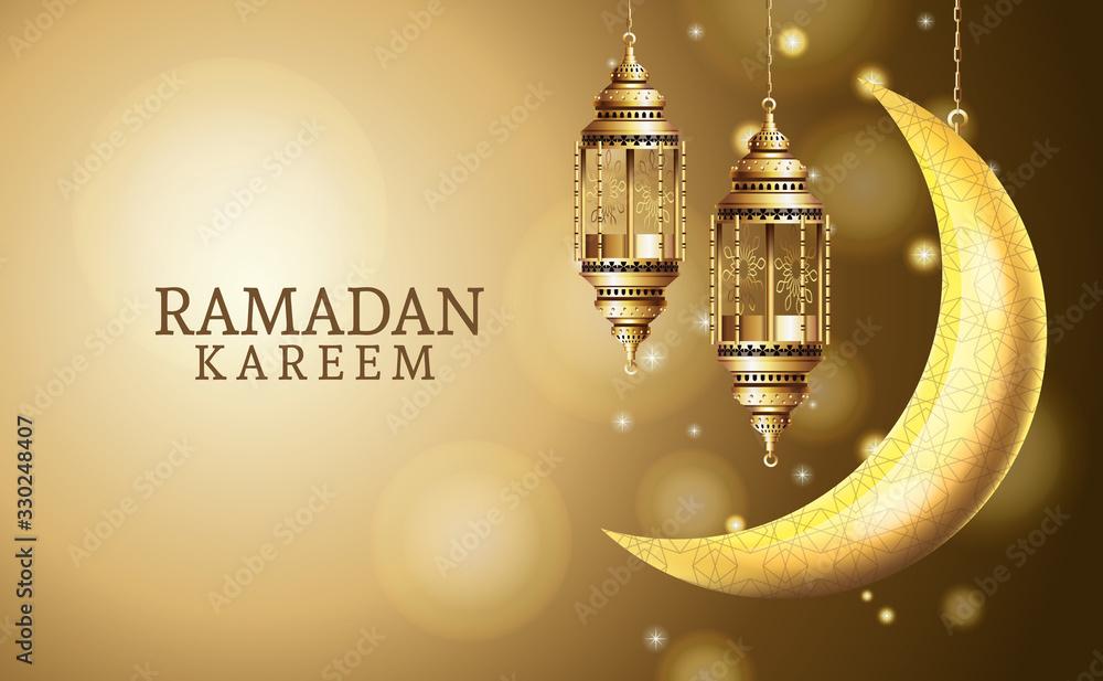 Fototapeta ramadan kareem celebration with lanterns hanging and moon