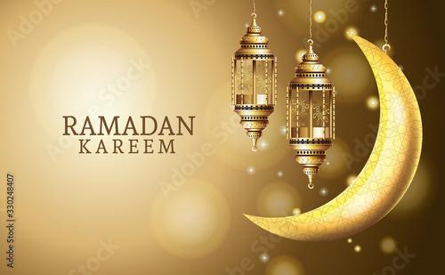 Obraz ramadan kareem celebration with lanterns hanging and moon - fototapety do salonu