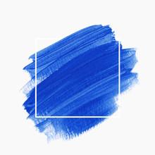 Art Brush Stroke Paint Abstract Shape Background Over Square Frame - Vector. Creative Blue Design Logo Artwork.