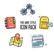 Vector line icon pack in flat line design with elements for mobile concepts and web apps. Icons including settings, e-mail, calendar, maps and phone book.
