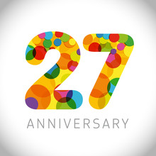 27 Th Anniversary Numbers. 27 Years Old Multicolored Congrats. Cute Congratulation Concept. Isolated Abstract Graphic Design Template. Age Digits. Up To 27%, -27% Percent Off Discount. Decorative Sign
