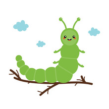 Cute Cartoon Green Caterpillar Character Sitting On A Branch. Vector Illustration For Kids, Children Design.