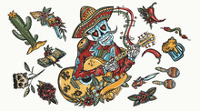 Mariachi Skeleton Wearing Sombrero And Playing Guitar. Color Tattoo Elements. Day Of Dead Style. National Culture And Tradition. Mexican Art. Cactus, Chilli Pepper, Gun, Money, Snake