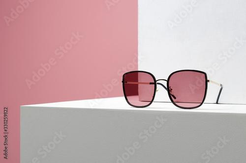 Fototapeta Trendy Women's glasses. fashion still life. female sunglasses obraz