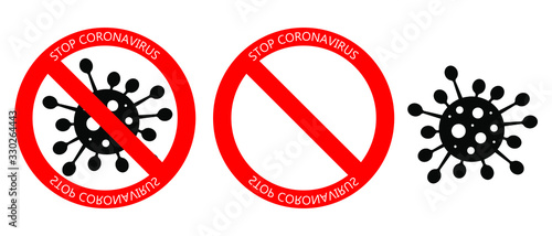 Set of Coronavirus Icon with Red Prohibit Sign. No Infection and Stop Coronavirus Concepts. Vector isolated on white background.