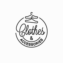 Clothes And Accessories Logo. Linear Of Clothes