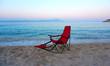 Camping chair at seaside at sunset