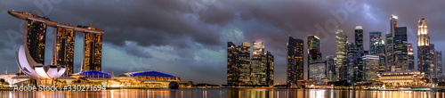 Panorama of the Singapore skyline at night Wallpaper Mural