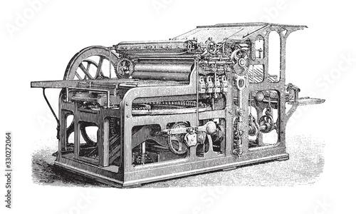 Old automatic cylinder printing press / vintage illustration from Brockhaus Konv Tapéta, Fotótapéta