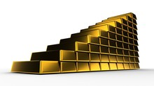 Gold Rising Price. Bricks Or Ingots. 3D-rendering. Isolated On White.