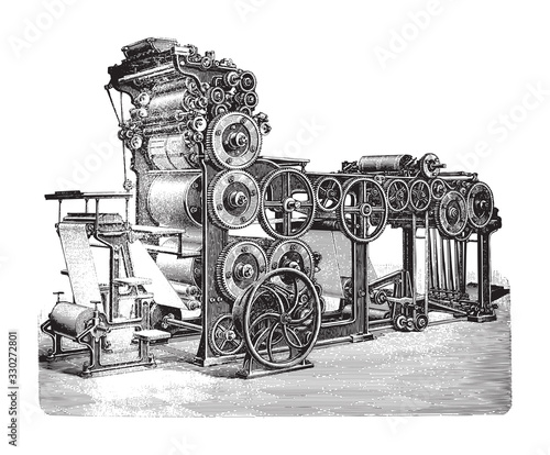 Valokuvatapetti Old automatic cylinder printing press / vintage illustration from Brockhaus Konv