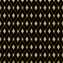 Black And Gold Diamond Seamless Pattern. Vector Luxury Male Background. Art Deco Design