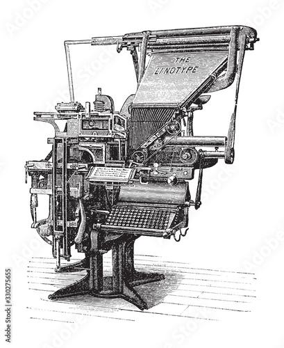Obraz na plátně Old linotype machine / vintage illustration from Brockhaus Konversations-Lexikon
