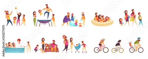 Obraz Set of cartoon icons family active holidays parents with kids in various activity isolated vector illustration - fototapety do salonu