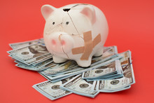 Piggy Bank Costs On Paper Money, Dollars. The Piggy Bank Was Broken And Collected Back - It Is A Symbol Of Accumulated Money. Piggy Bank In The Form Of A Pig On A Red Background